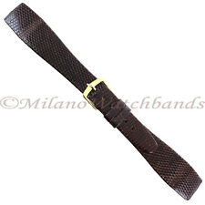 20mm Hirsch Brown Genuine Lizard Flat Unstitched Tapered Open Ended Watch Band
