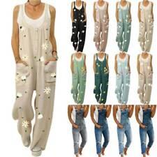 Womens Floral Denim Jeans Bib Pants Overalls Jumpsuit Rompers Trousers Suspender