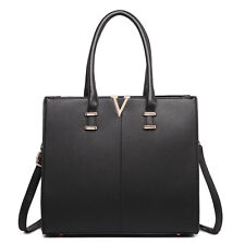 Women Designer PU Leather Two Colour Contrast Shoulder Satchel Handbag Tote Bag