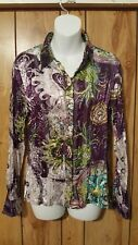 Unique Fashion Belissimo NY Shirt Womens Semi Sheer Mulit Color L/S Blouse Sz M