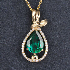 14KT Yellow Gold 1.45CT Natural Green Emerald EGL Certified Diamond Pendant