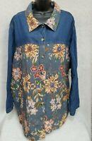 Liz & Me NWOT Womens Floral Button Down Shirt Top Blouse Jacket Coat Size 4X