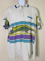 Vtg Hummel Men Size L Retro 90's Polo Shirt Short Sleeve