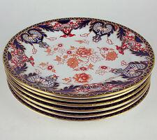 "6 Luncheon / Salad Plates 8 7/8""  Royal Crown Derby Pattern 2113 Imari Flow Blue"