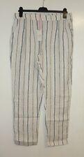 The White Stuff Maison Stripe Linen Trouser Natural Size UK 14 Lf076 HH 08