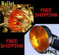 FITS HARLEYS W/83MM FLAT STYLE TURN SIGNAL LENS CHROME FLAME AMBER FRONT FLHR