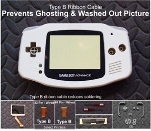GBA Backlight-Backlit Adapt-AGS101-Mod Kit w/LCD +Type B Cable-White