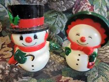Vintage Antique Snowman and Snowwoman Christmas Salt and Pepper