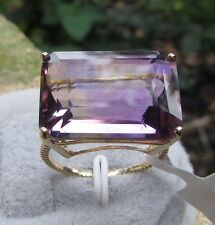 17.17 cts Genuine Anahi Ametrine Solitaire Size 7 Ring in 10k Yellow Gold
