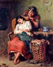 A Stolen Lock by Edwin Thomas Roberts - Girl Sleep Boy Cuts Hair 8x10 Print 1154
