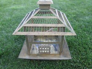 Vintage Hendryx Brass Pagoda Top Wire Bird Cage w Screens & Doors