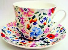 Diane Large Cup & Saucer Bone China Flowers Breakfast Set Hand Decorated UK