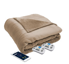 NEW Serta Perfect Sleeper Bluetooth Wireless Heated Blanket Queen Size Taupe