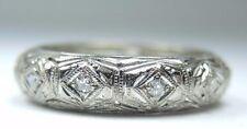 Antique Vintage Diamond Eternity Wedding Band Platinum Ring Size 6.5 EGL USA
