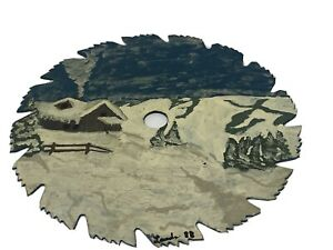 "Hand Painted & Signed Folk Art 7"" Round Saw Blade ""Winter Farm"""