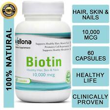 Wellona Biotin For Healthy Hair, Skin & Nails 10000 mcg 60 Tablets Free Shipping