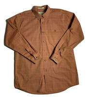 Orvis Mens Button Down Shirt 100% Cotton Plaid Long Sleeve LTL Large Tall Orange