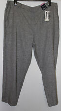 M&S Freya Black Check Relaxed Straight Trousers Size 22 Short New With Tags