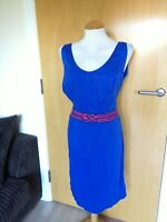 Ladies PEPPERBERRY Dress Size 12 SC Blue Cotton Summer Casual Smart Day Party