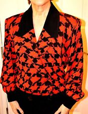 CLASSIC ST JOHN KNIT JACKET RED AND BLACK SIZE 4 WOOL BLEND
