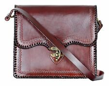 Clasp Closure Medieval Vintage Leather Folio Satchel Bag Well Polished Leather