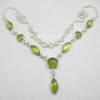 925 Sterling Silver Natural Green Marquise, Round Peridot Necklace 18.2""