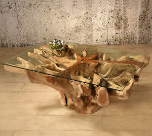Wurzelholz Tisch Amazonas 110x70 Couchtisch Wohnzimmertisch Teakholz Massivholz