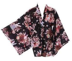 KJ-16-1 Schwarz Hase Sakura Kirschblüten Haori Über-Jacke Geisha Kimono Yukata