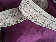 Ribbon Xmas Burlap Rustic Lodge look 2.5 in x 5 yds blk & gold script wire edge