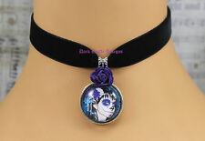 Goth Black Velvet Choker Necklace Day of the Dead Cameo Pendant Purple Rose