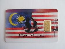 """1g Goldbarren, IAR Türkei,""""I love Malaysia"""",995/1000 Fine Gold, im Blister, rar!"""