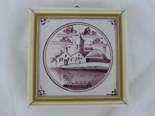 Old Tile Delft Tile Landscape Manganese Painting - from Estate Motif 115