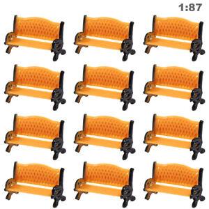 12pcs Model Railway 1:87 HO Scale Park Street Seat Bench Settee Chair ZY35087OO