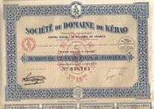 Original Indochina Bond 1924 Society Domaine Kebao 100 fr coupons dragon