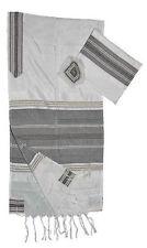 "White Gabrieli Silk Tallit Black & Gold Stripes 20""x80"""