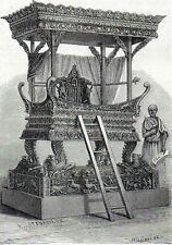 Antique print Pulpit pagoda Indochina Southeast Asia Pulpito stampa antica