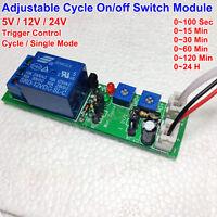 DC 5V 12V 24V Adjustable Time Trigger Cycle Timer Delay Turn On OFF Relay Switch