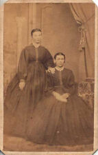 CIVIL WAR ERA CDV OF WOMEN IN STUNNING LARGE DRESSES W/ NAMES - LANCASTER, PA