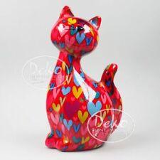 POMME PIDOU - exklusive Spardose - Keramikfigur KATZE CARAMEL rot / Herzen