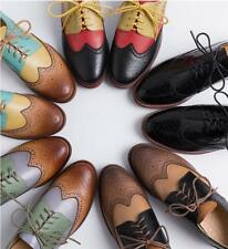 Mixed-colored Women's Brogues Leather Shoes Wingtip Lace up Formal Britain Retro