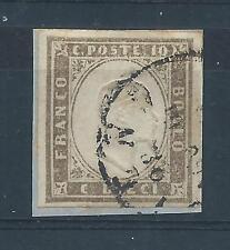 ANTICHI STATI 1861 SARDEGNA 10 CENTESIMI GRIGIO OLIVASTRO CHIARO USATO D/6773
