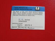 Vintage Old Credit Card: Sears Roebuck & Co. Retiree Identification Card