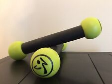 Zumba Toning Sticks Set of 2 Yellow Green Shaker Workout Weights 1 lb each