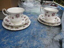 2x Royal Albert royal albert sweet violets Cup,saucer & Platee  Trio