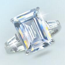 8 ct Emerald Cut Ring W/ Bag Vintage Top Russian CZ Moissanite Simulant 10