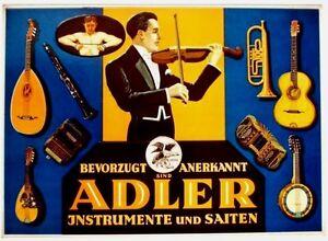 Original vintage poster ADLER MUSIC INSTRUMENTS & HARS c.1925