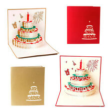 FJ- LC_ BIRTHDAY CAKE HANDMADE 3D POP UP HOLIDAY GREETING CARDS CHRISTMAS GIFTS