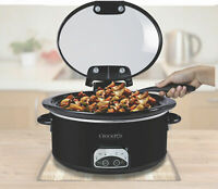 Crock-Pot Hinged Lid Programmable High Quality Slow Cooker 4.5 Qt Black Oval Set
