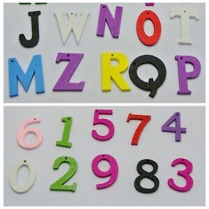 100 Assorted Bright Color Wood-cut Alphabet Letter Number Wooden Charm Pendants