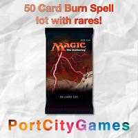 50 Card Burn Spell lot Magic MTG w/ Rares + FREE bonus Rares & Booster Packs!